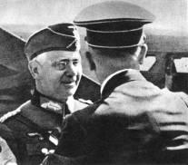Field Marshall Reichenau meets Adolf Hitler in Poland.