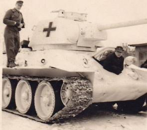 White washed captured Soviet T-34 in German use.