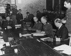 Signing the German Instrument of Surrender at Reims, France 7 May 1945.