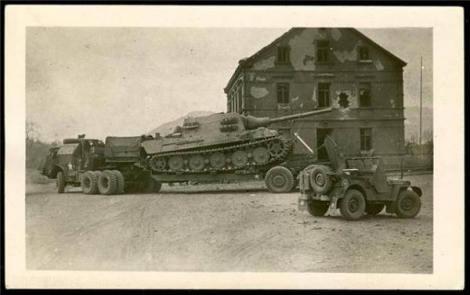 Captured Jagdtiger being prepped for transport.