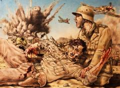3rd Drawing. Claus von Stauffenberg injured in North Africa. By Michael Akkerman.