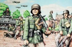 1st Drawing: 1939, The War in Europe has Begun. It depicts a Wehrmacht soldier just as the war has broken out in Poland. By Michael Akkerman.