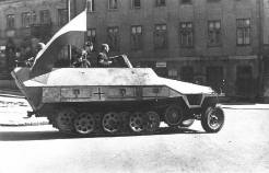 Sd.Kfz. 251/1 Ausf.D captured by the Polish Home Army during the Warsaw Uprising in 1944.