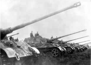 Tiger II's of Schwere Heeres Panzer Abteilung 503 (s.H.Pz.Abt. 503) 'Feldherrnhalle' posing in formation for the German newsreel.