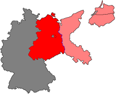 Pink: portions of Germany east of the Oder-Neisse line attached to Poland (except for northerly East Prussia and the adjoining Memel Territory, not shown here, which were joined directly to the Soviet Union.) Red: the Soviet Occupation zone of Germany.