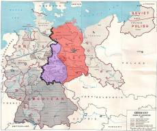 The Allied zones of occupation in post-war Germany, highlighting the Soviet zone (red), the inner German border (black line) and the zone from which American troops withdrew in July 1945 (purple). The provincial boundaries are those of pre-Nazi Weimar Germany, before the present Länder (federal states).