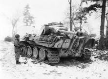 Knocked out Panther of the 12th SS Panzer Division began the Ardennes offensive with about 120 panzers, 40 are left as of 10-15 January 10-15, 1945.