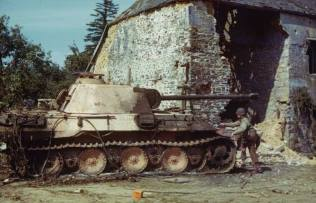 Ruined Pather near St. Gilles (or perhaps Hambye), France, 1944.