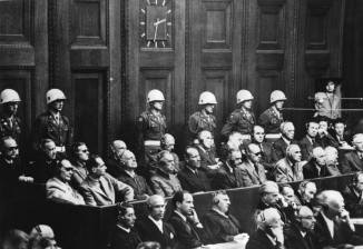 Defendants in the dock at the Nuremberg Trials.