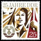 """""""25 years of the GDR"""" is a 1974 postage stamp commemorating the 25th anniversary of East Germany's establishment on 7 October 1949."""