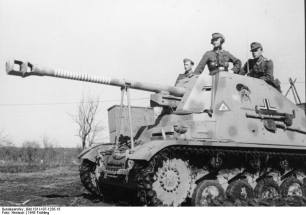 "The famous Marder II ""coal thief"" -recognizable by the cartoon painted on both sides- on the Eastern Front in 1943. The ring markings on the barrel indicate 19 claimed kills for the vehicle."