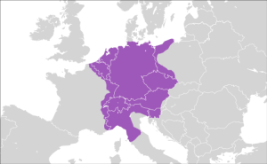 Map of the Holy Roman Empire of German Nation in 1600 (in today's state borders).