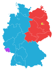 Germany 1949: West Germany (blue) comprised the Western Allies' zones, excluding the Saarland (purple); the Soviet zone, East Germany (red) surrounded West Berlin (yellow).