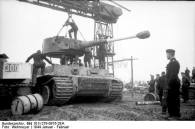 Tiger 1 turret being installed.