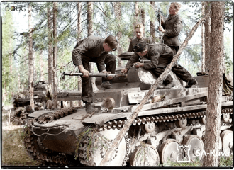 Panzer 2 and her crew doing maintenance on the gun.