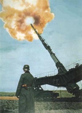 Schwerer Gustav railway artillery in action.