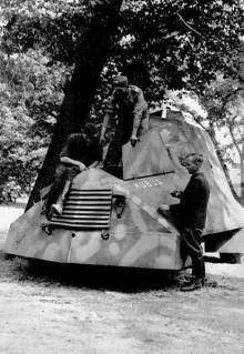 """Kubuś the Polish World War II armoured car, made by the Home Army during the Uprising. A single copy was built by insurgents from """"Krybar"""" Group, on the chassis of a Chevrolet 157 van. It took part in the attack on Warsaw University."""