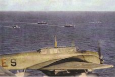 A convoy in progress in the Mediterranean, bound for Tripoli.