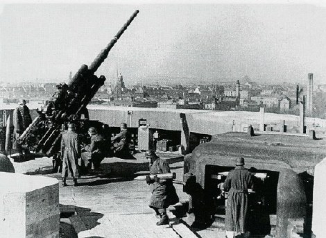 A Flak 38 105 mm gun on the Zoo flak tower.