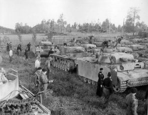 1945 Norway, elements of the Panzer Brigade Norwegen capitulate to the British troops.