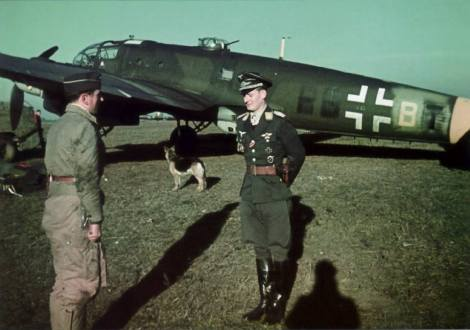 Oberleutnant Walter Grasemann and a Heinkel He 111.