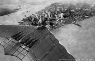 Nazi Propaganda for a variation of the Horten Ho 229 going over New York City.