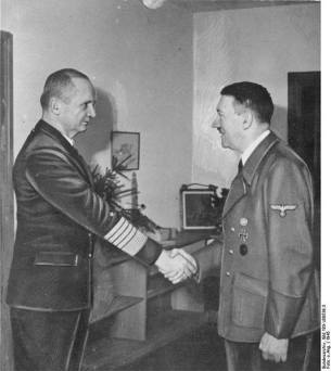 Dönitz (left) meeting with Hitler, 1945.