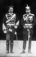 Wilhelm II with Nicholas II of Russia in 1905, wearing the military uniforms of each other's nations.