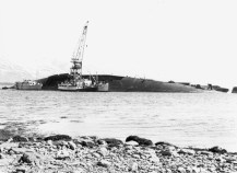 Battleship Tirpitz being broken up after the war by German and Norwegian salvage operations.