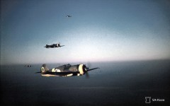 A Curtiss squad from the 1st Finnish Flight Regiment, over the Aunus Isthmus in an image taken on 18 October 1943. After the fall of France, Germany agreed to sell captured Curtiss Hawk fighters to Finland in October 1940. In total, 44 captured aircraft of five subtypes were sold to Finland with three deliveries from 23 June 1941 – 5 January 1944.