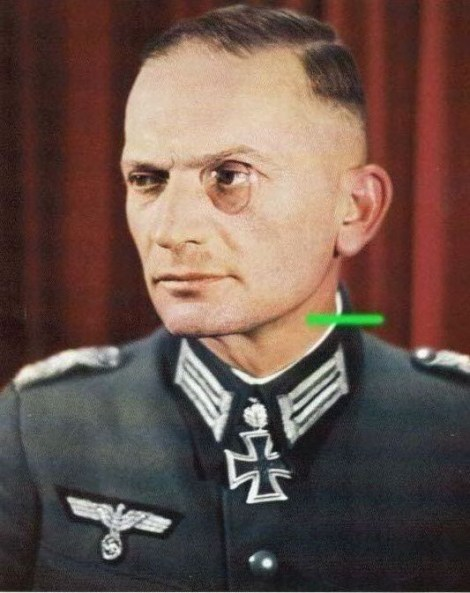 Oberstleutnant der Reserve Albert Graf von der Goltz wearing monocle after receiving Eichenlaub #316 as Kommandeur of Gebirgsjäger-Regiment 144.