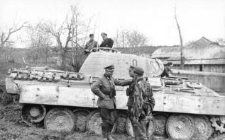 Panzerbefehlswagen Panther Ausf. A (Sd.Kfz. 267) of the Panzergrenadier-Division Großdeutschland photographed in southern Ukraine in 1944.
