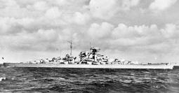 Bismarck on trials; note the lack of rangefinders, which had not yet been installed.