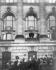 Crowds outside the Reichstag on 9 November as the creation of the republic was announced.