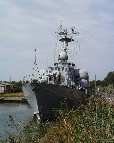 The Hans Beimler, a former Soviet-built, missile corvette of the Tarantul class operated by the Volksmarine.