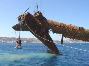 2013: Junkers JU-52 rescued in Greece! A German plane Ju-52 was lifted out of the sea by the crew of the Greek Airforces museum. During the siege of the island of LEROS by the German in 1943 the war plane was hit by antiaircraft gun from the ANGO-ITALIAN FORCES near the coast of the island. Since then it was on the bottom of Aegean sea for well over 60 years when local divers with the help of the war museum of Greek Airforce uncovered it again. The plane was cleaned and then it will be transferred to Pireus.