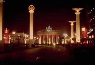 Berlin's Brandenburg gate and colonnades are lit up at night in honor of Adolf Hitler's 50th birthday, April 20, 1939.
