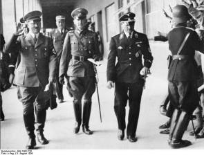 Hitler, Witzleben and SS-Obergruppenführer Josef Dietrich at the 1936 Summer Olympics.