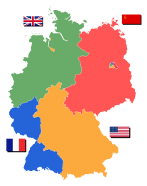 Post-war occupied Germany: The British (Green), Soviet (Red), American (Orange), and French (Blue) occupation zones.
