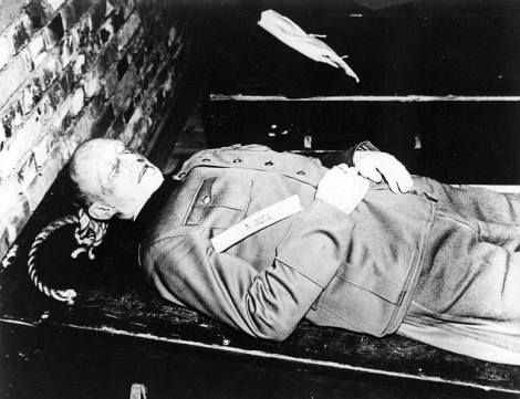 The body of Alfred Jodl after being hanged, 16 October 1946.