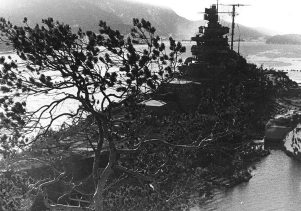 Tirpitz camouflaged in the Fættenfjord, Norway.