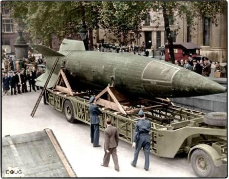 A captured German V-2 rocket on display in Trafalgar Square, London. Saturday 15th of September 1945.
