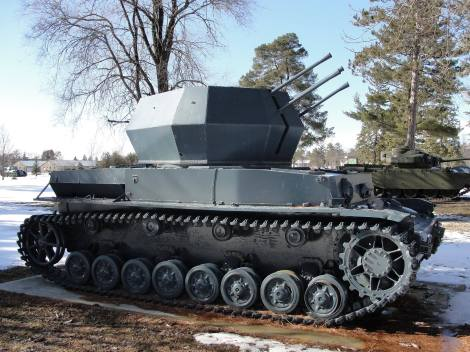 A rare example of a Flakpanzer IV Wirbelwind self-propelled anti-aircraft gun, located in Ontario, Canada.