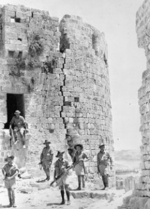 Australian troops among the ruins of the old Crusader castle at Sidon, Lebanon, July 1941.