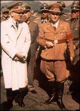 Adolf Hitler and Karl-Otto Saur. Behind Saur is SS-Gruppenführer Hermann Fegelein.