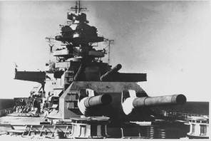 Guns Anton and Bruno of the Bismarck.
