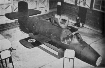 A captured Ba 349 A1 Natter on display for Open Days at Freeman Field, Indiana, USA September 1945. The swastikas are neither authentic nor positioned according to German military specifications.