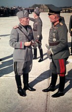 Benito Mussolini Speaks with Wilhelm Keitel at Feltre Airfield.