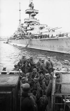 The German cruiser Admiral Hipper landing troops in Trondheim.