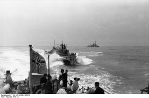R boats operating near the coast of occupied France, 1941.